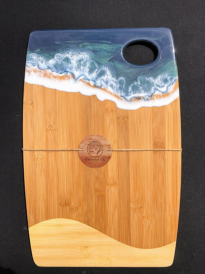 Large Bamboo and Green Ocean Resin Cheeseboard