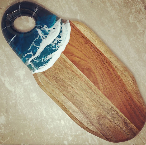 Large Oval Wood and Resin Cheeseboard