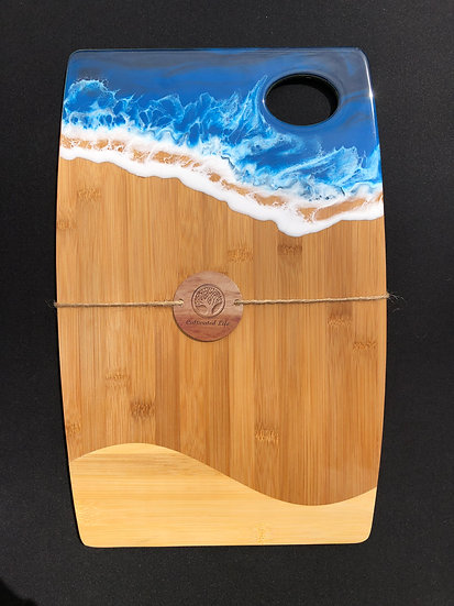 Large Bamboo and Blue Ocean Resin Cheeseboard 3