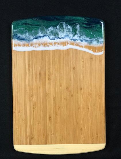 Large Bamboo and Green Resin Cheeseboard
