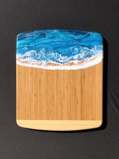Medium Bamboo and Tropical Blue Ocean Resin Cheeseboard