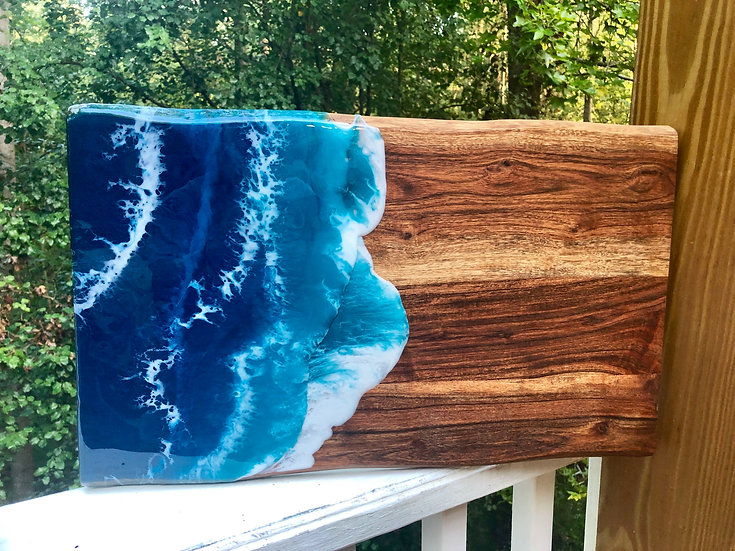 Large Sheesham Wood and Resin Charcuterie Board