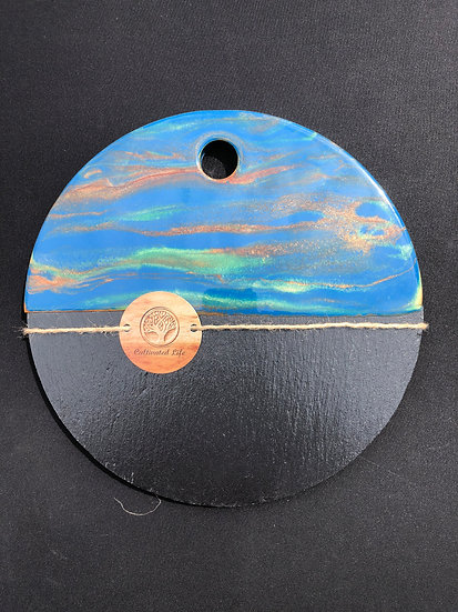 Round Slate and Bamboo and Blue/Green/Copper Resin Cheeseboard