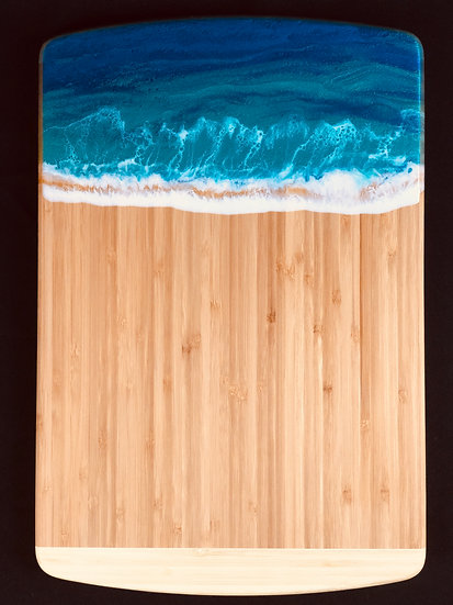 Large Sea Turquoise Bamboo and Resin Cheeseboard
