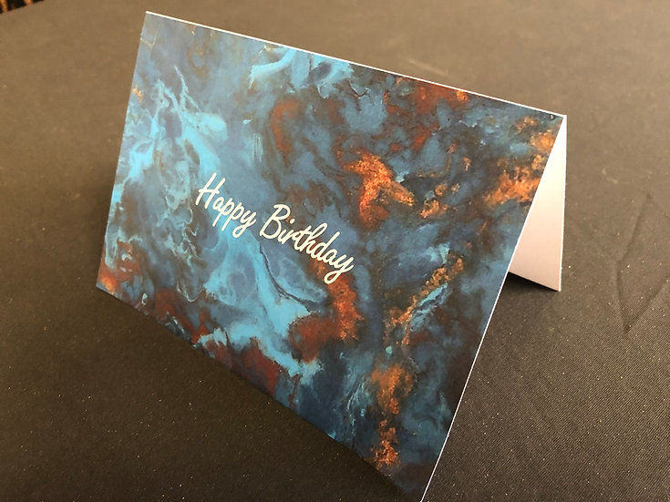 Birthday Card: Teal and Copper Marble