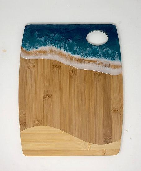 Medium bamboo and ocean resin cheeseboard