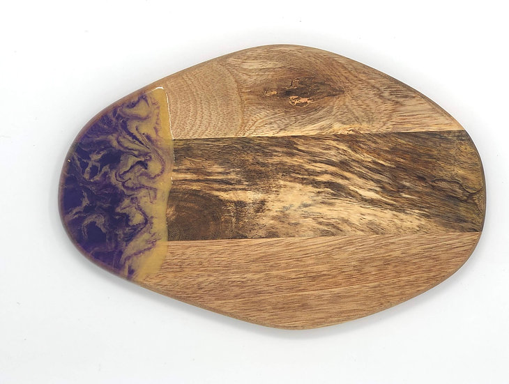Purple and Gold Small Wood and Resin Cheeseboard
