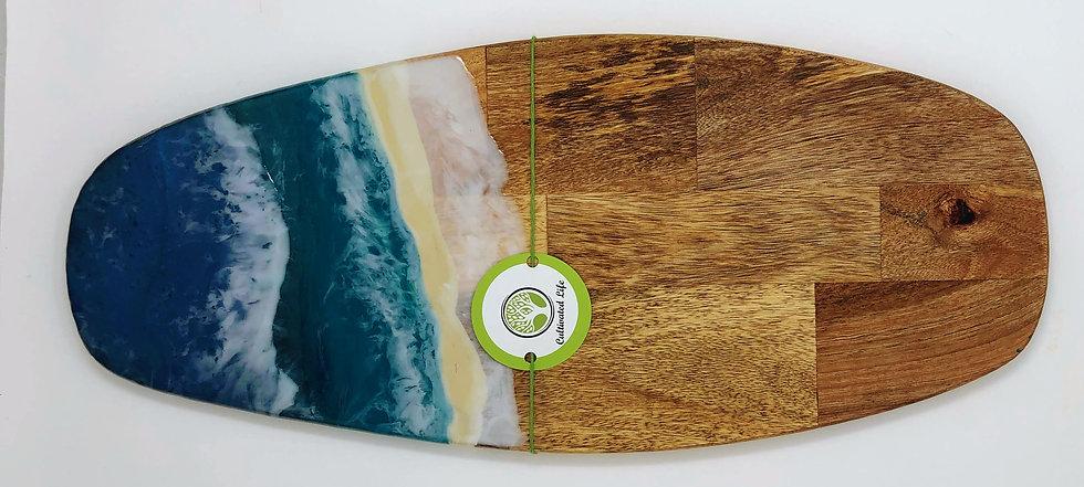 Ocean Surfboard: Wood and Resin Cheeseboard