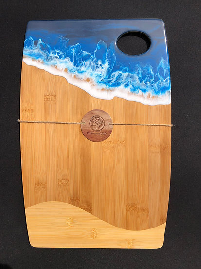 Large Bamboo and Blue Ocean Resin Cheeseboard 2