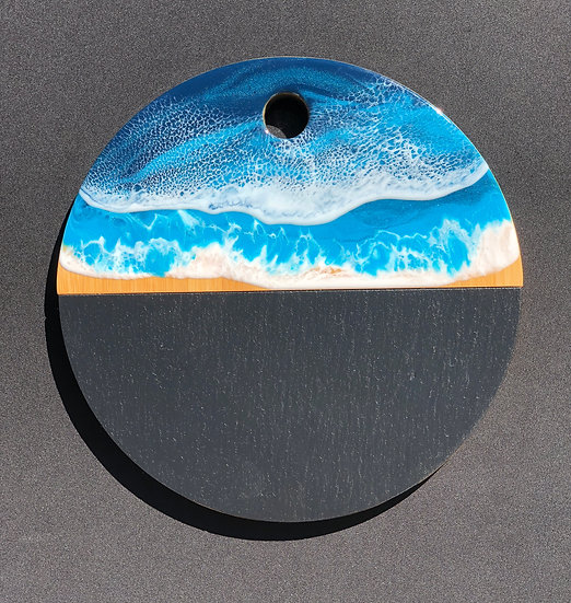 Round Slate and Bamboo and Ocean Resin Cheeseboard 3