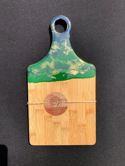 Small Bamboo and blue/gold/green Resin Cheeseboard 1