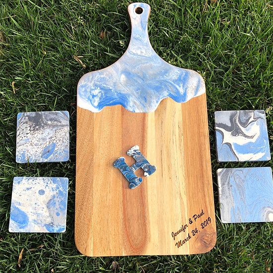 Acacia wood and resin cheeseboard and wood coasters