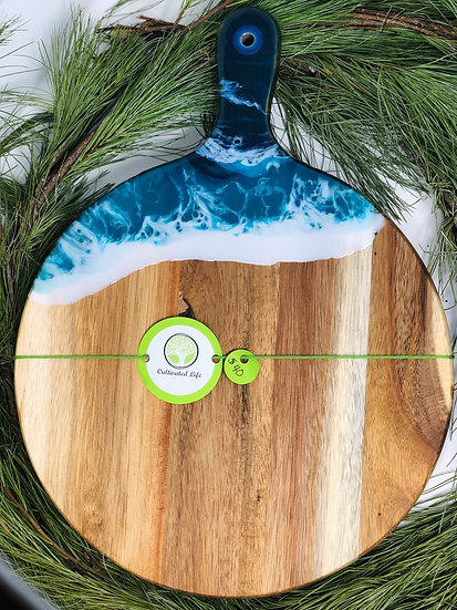 Ocean Round with handle Wood and Resin Cheeseboard