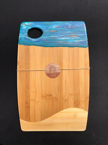 Large Bamboo and Turquoise Stripes  Resin Cheeseboard