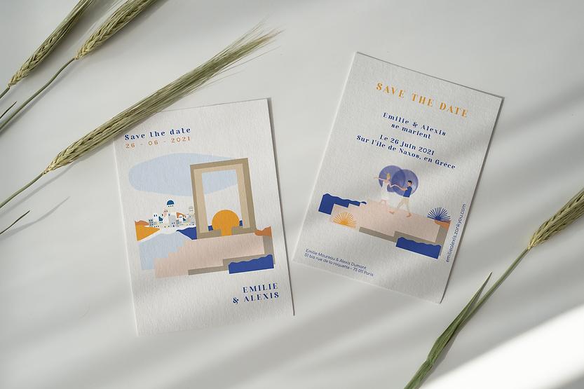 Design Invitations mariage en Grèce, sur l'île de Naxos / Studio Desamble