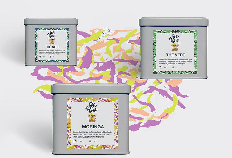 Packaging boîtes de thé Desamble pour Fée d'Ebène