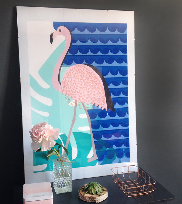 Poster flamand rose / flamingo Desamble