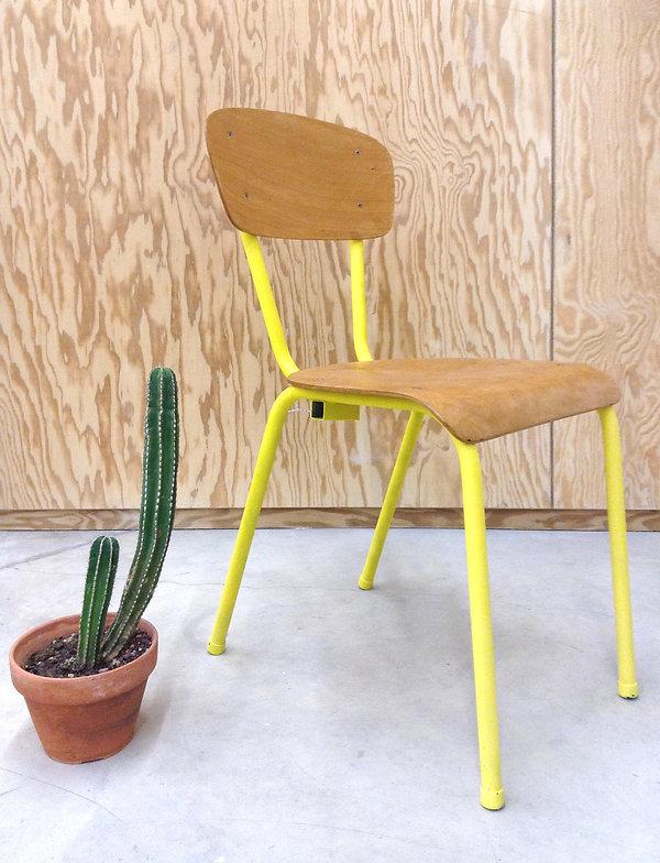 chaise écolier vintage jaune