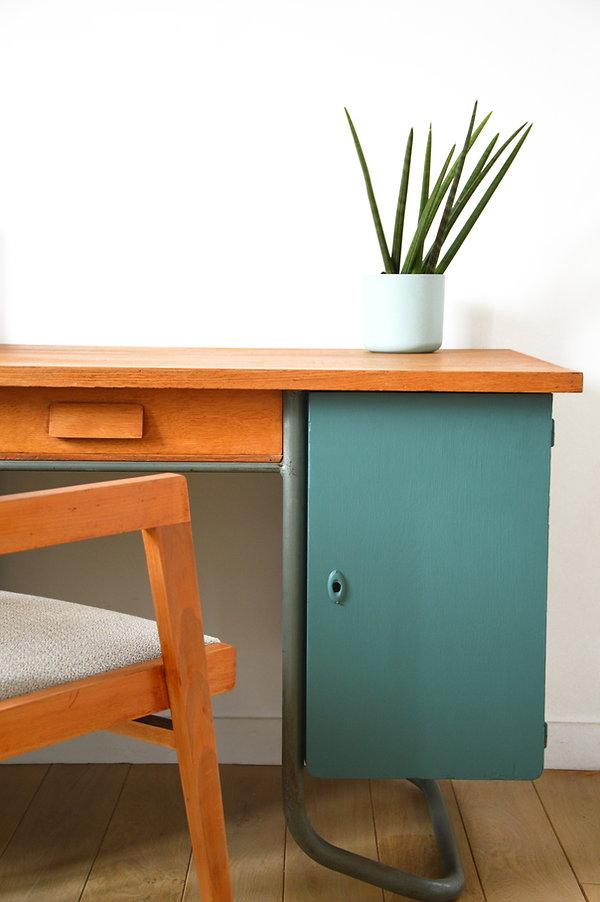 bureau écolier vintage vert