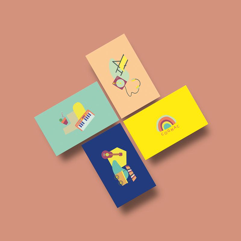 Cartes postales festival MétaMusiques Cognac Studio Desamble