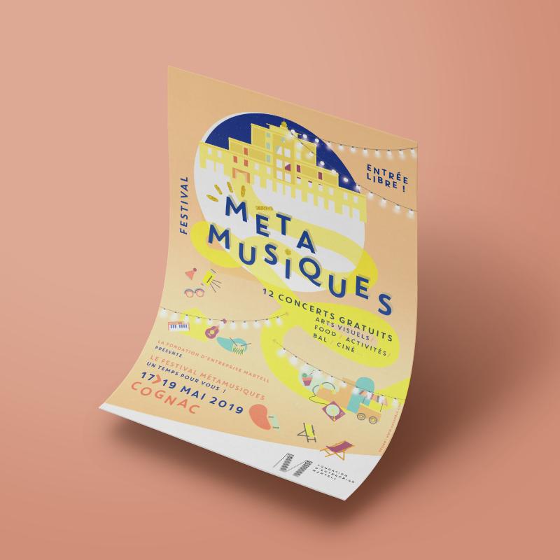 Affiche Festival MetaMusiques Cognac // Design graphique Desamble