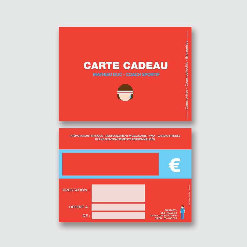 Design carte cadeau coach sportif