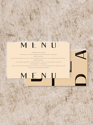 MENU wedding stationery