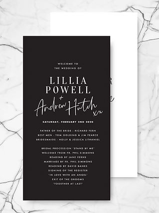 wedding ceremony order of service black and white modern