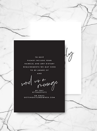 wedding invitation rsvp card with bold ypography and modern calligraphy