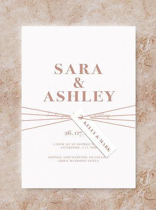 bloc invitation name tag wedding stationery