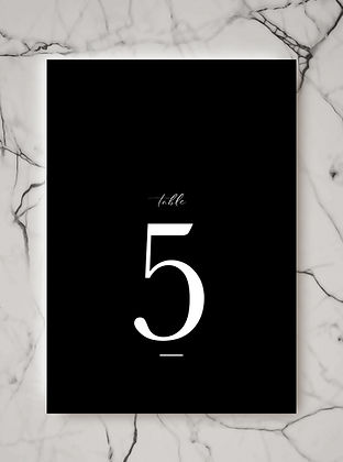 wedding table number sign card