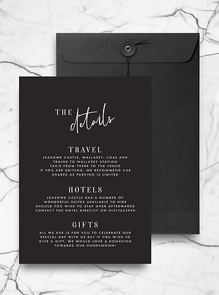 wedding invitation information card with minimal typography and calligraphy details
