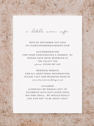 INFORMATION CARD FROM THE VOGUE WEDDING