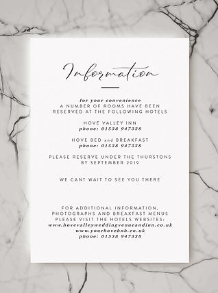 wedding invitation information card stationery