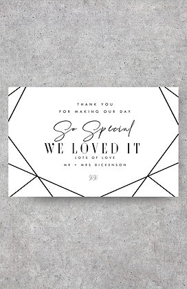wedding thank you card white