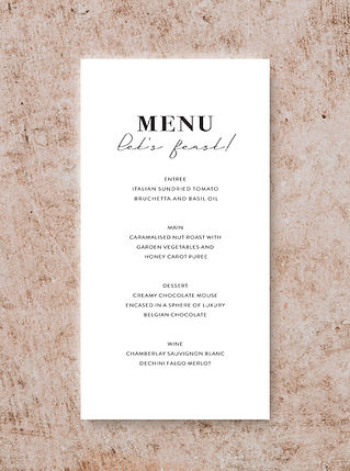 MENU CARD DESIGN FROM THE VOGUE WEDDING