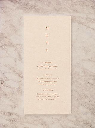 wedding menu card