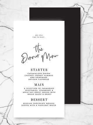 modern wedding breakfast menu card with calligraphy and minimalist typography in black and white