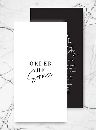 wedding ceremony order of service with bold typography and modern caligraphy boho style