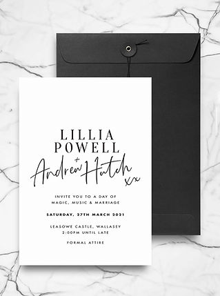 wedding invitation with bold typography and calligraphy in black and white