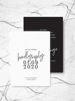 wedding invitation rsvp card with calligraphy and bold typography