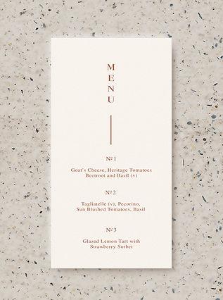 MENU wedding card stationery