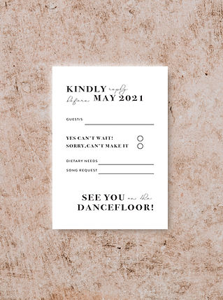REVERSE DESIGN OF THE RSVP CARD FROM THE