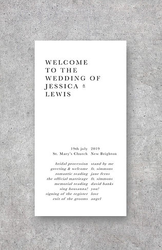 wedding order of service booklet card