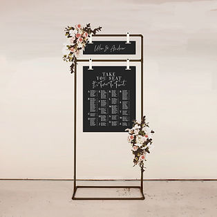 wedding SEATING CHART table plan sign in black and white with modern calligraphy in alphabetical order