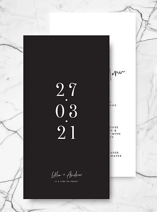 modern wedding menu card with the date on the reverse