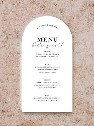 ARCH SHAPE MENU CARD FROM THE VOGUE WEDD