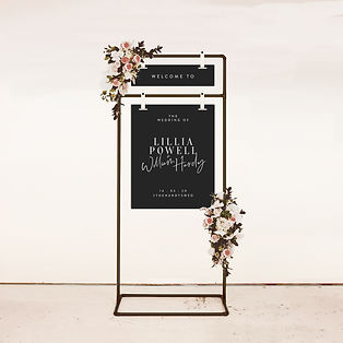 WELCOME SIGN wedding signage modern and bold typography with metal stand