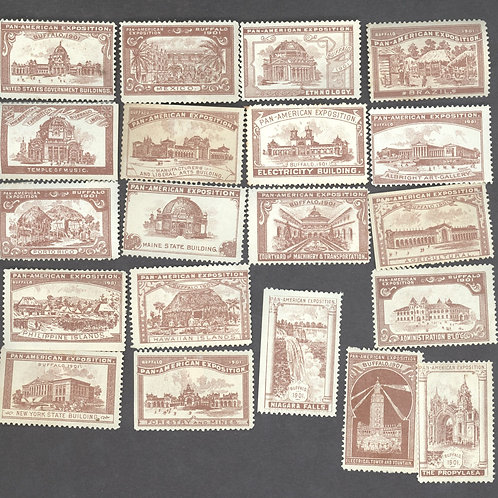 Brown set of all 20 building stamps
