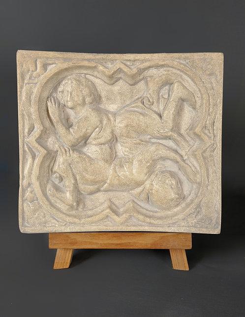 Quadrilobe Perspective avec 2 personnages  | XIVe siècle | Cathédrale